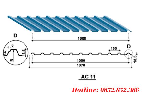 Khổ tôn tiêu chuẩn của tôn 11 sóng vuông