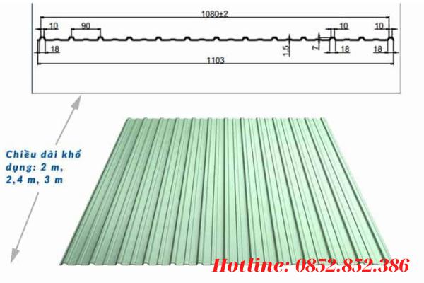 Khổ tôn tiêu chuẩn của tôn 13 sóng vuông