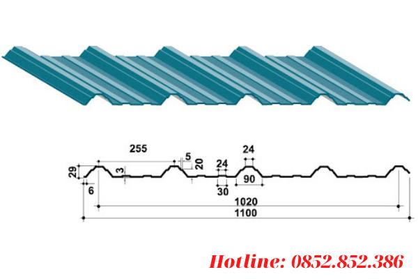 Khổ tôn tiêu chuẩn của tôn 5 sóng vuông