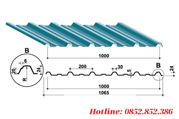 Khổ tôn tiêu chuẩn của tôn 6 sóng vuông