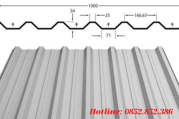 Khổ tôn tiêu chuẩn của tôn 7 sóng vuông
